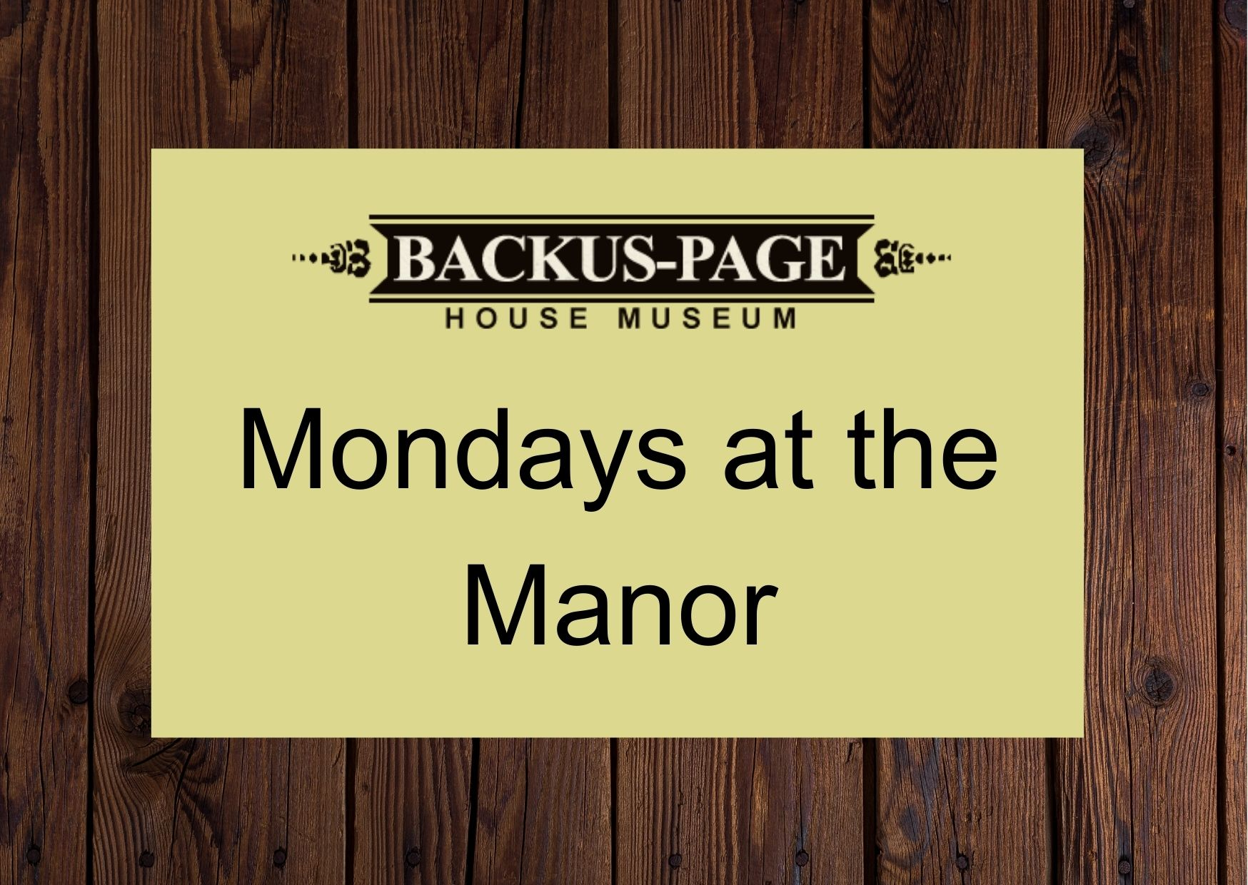 Mondays at the Manor – A Welcome Centre